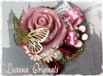 broche, bronce, rosa, flores