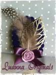 broche, morado, rosa,flores, plumas